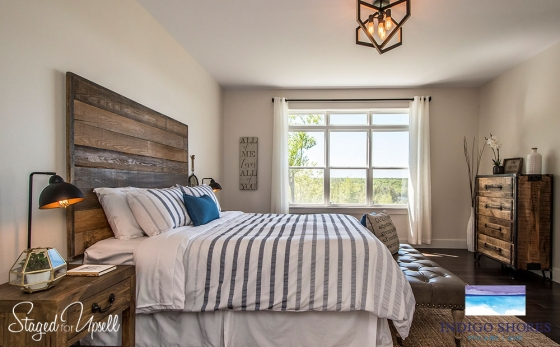 Home staging porfolio staged for upsell Model home master bedroom decor